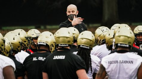 Clark Lea at the first official spring practice of 2021. (Twitter/@VandyFootball)