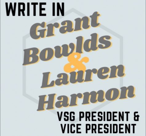 Grant Bowlds and Lauren Harmon's campaign advertisement. (Hustler Staff/Rachael Perrotta)
