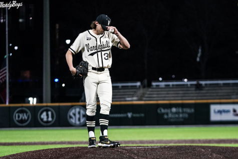 Hugh Fisher on the mound in Vanderbilt