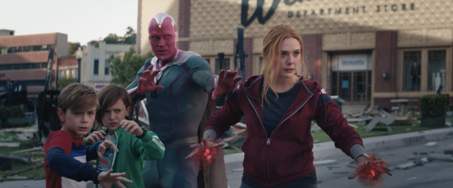 The superpowered Maximoff family stands together ready to face anything in the WandaVision finale. As Wanda taught her boys, family is forever. (Marvel Studios/WandaVision)