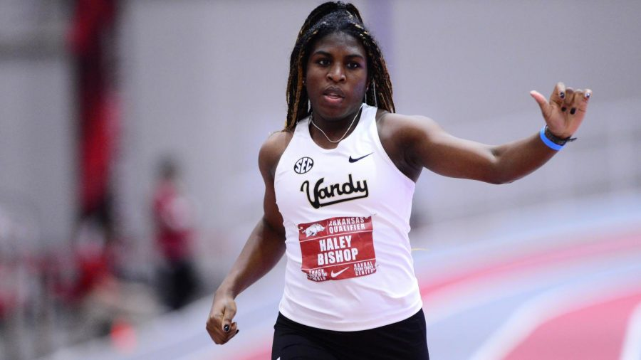 Haley Bishop competes in the 2021 Arkansas Qualifier on Feb. 5, 2021. (Twitter/@VandyXCTrack)