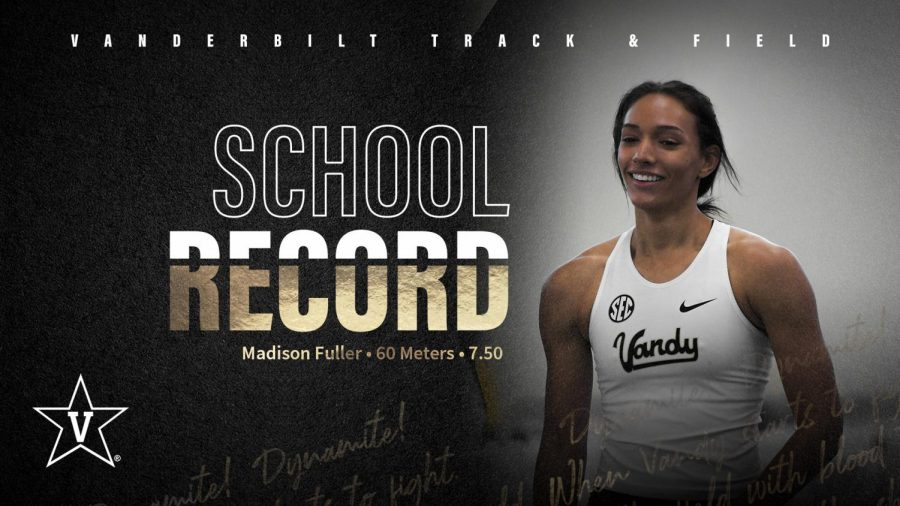 Madison Fuller breaks a program record in the 60-meter dash. (Twitter/@VandyXCTrack)