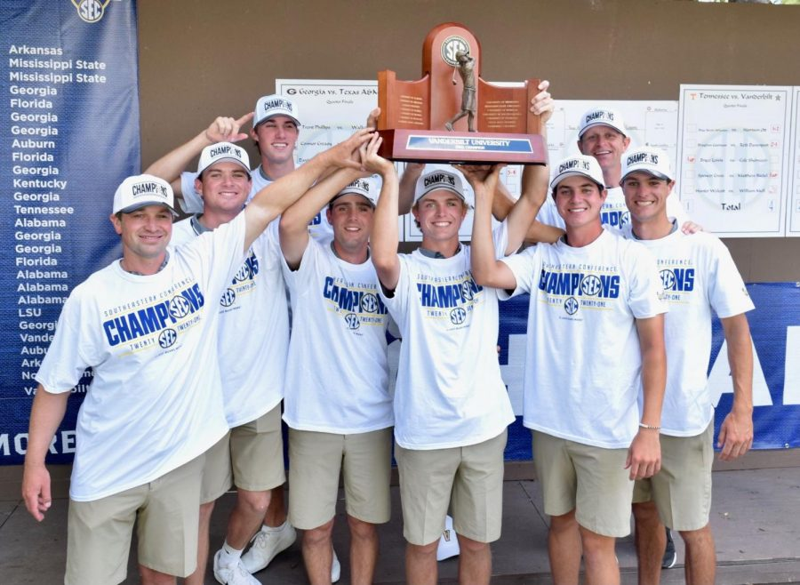 Vanderbilt men's golf wins its first SEC Championship since 2017. (Twitter/@VandyMGolf)