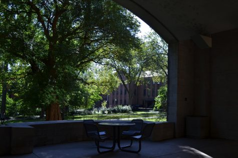 Empty chairs inside of Calhoun Arch on Vanderbilt