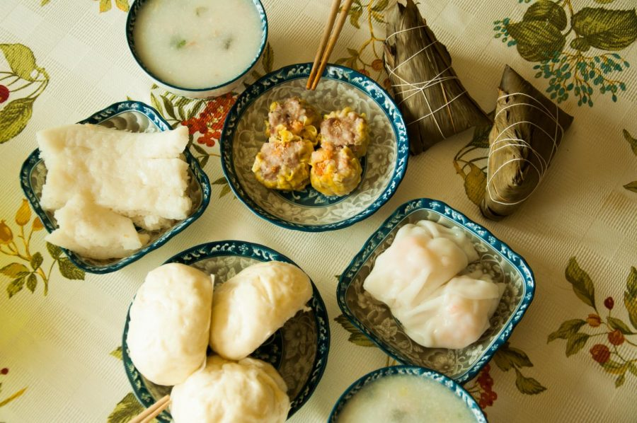 Soup, dumplings and other foods on a tabletop, photographed April 3, 2021. (Hustler Multimedia/Connie Chen)