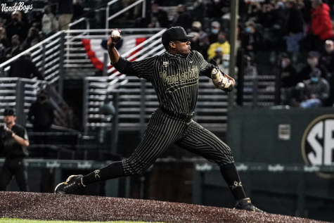 Kumar Rocker pitches against Mississippi State on April 23, 2021. (Twitter/@VandyBoys)