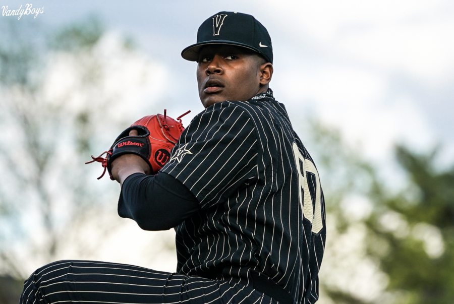 Kumar Rocker pitches against Georgia on April 8, 2021. (Twitter/@VandyBoys)