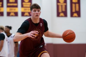 Liam Robbins in practice for the University of Minnesota. (Brad Rempel/Gopher Athletics)