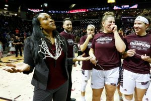 Amaka Agugua-Hamilton celebrates a conference championship on March 5, 2020. (Nathan Papes/Springfield News-Leader)