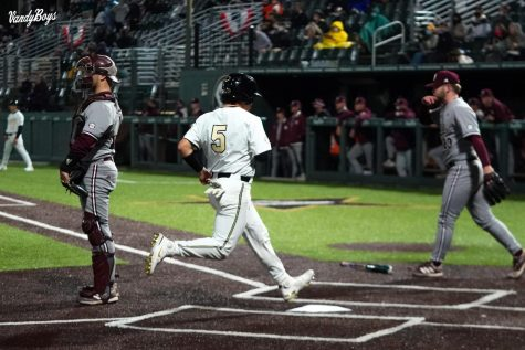 CJ Rodriguez scores against Mississippi State on April 24, 2021. (Twitter/@VandyBoys)