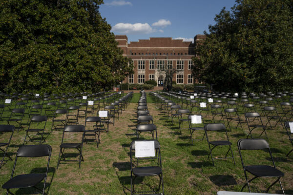 The Empty Chair COVID-19 memorial was set up on Library Lawn April 6 and 7 and honor those within and outside of the Vanderbilt community lost in the pandemic. (Photo by Joe Howell courtesy of Vanderbilt University)