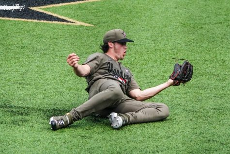 Patrick Reilly came off his mound to make a diving catch against Kentucky. (Twitter/@VandyBoys).