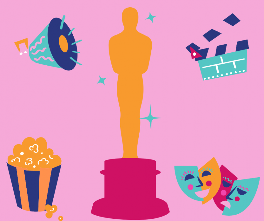 Graphic with image of oscar and other film related images