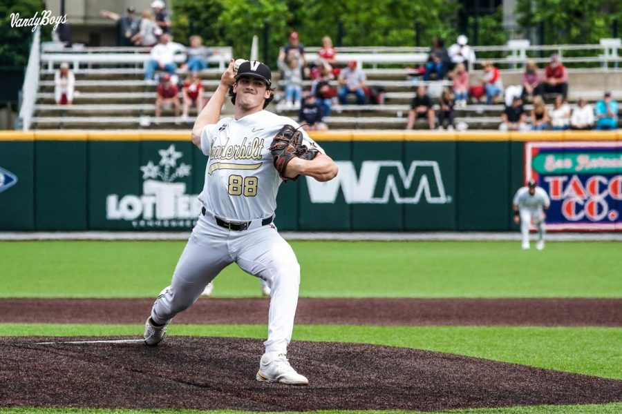Freshman Patrick Reilly pitched a career-high seven innings in Vanderbilt's win over Alabama on Saturday. (Twitter/@VandyBoys).