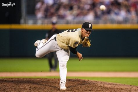 Jack Leiter (W, 11-4) earned his first College World Series victory thanks to a gutsy six inning performance on Monday. (Vanderbilt Athletics).
