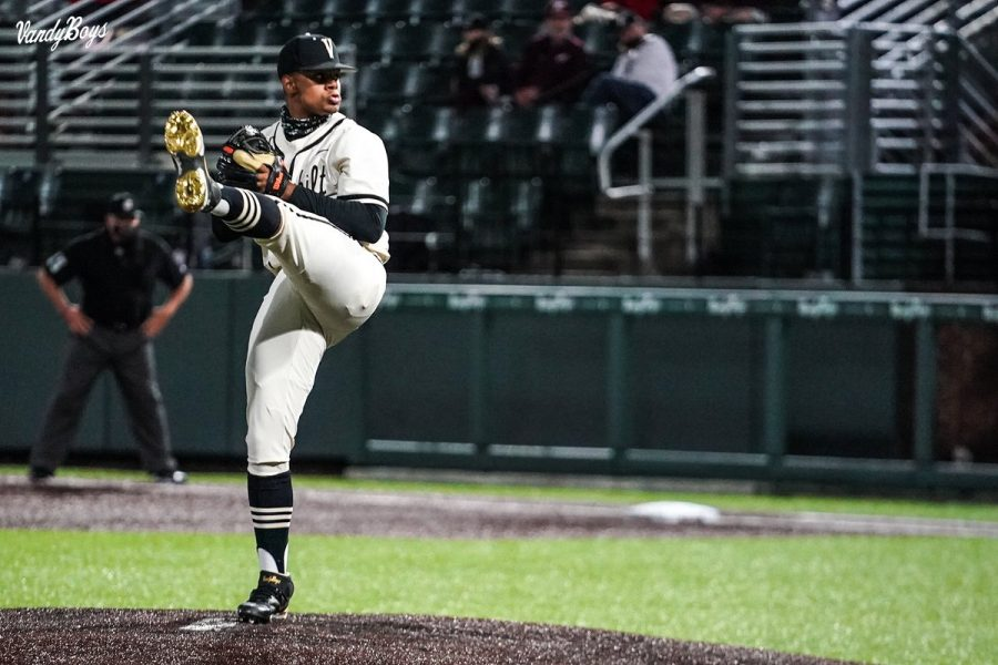 Christian Little delivers a pitch in a game on April 13. (Twitter/VandyBoys).
