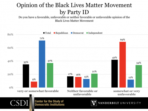 Chart showing Party ID divisions regarding the Black Lives Matter Movement. The screenshot is taken from the Vanderbilt Center for the Study of Democratic Institutions.