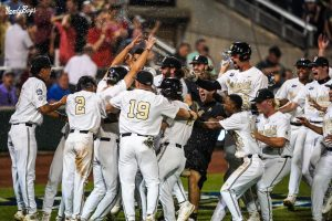 Vanderbilt walked off Stanford in dramatic fashion Wednesday night in Omaha. (Vanderbilt Athletics).