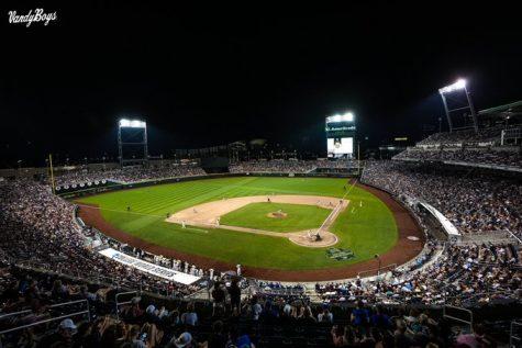the baseball field at Omaha at the college world series at night