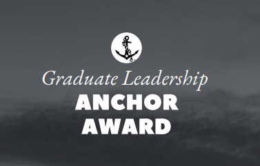 """gray background with a white anchor graphic and words that say """"Graduate Leadership Anchor Award"""""""
