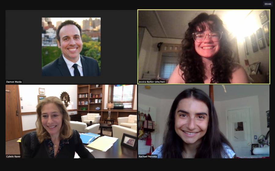 a screenshot of Damon Maida, Jessica Barker, Provost Raver and Rachael Perrotta on a Zoom call