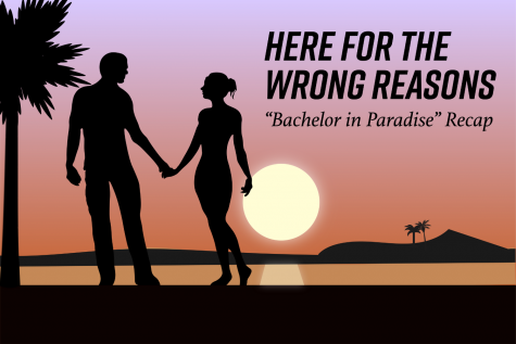 A graphic of a couple on the beach at sunset