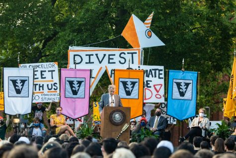 Chancellor Diermeier gives Founders Walk address while Dores Divest conducts protest on Aug. 22, 2021. (Hustler Mutimedia/Emery Little)