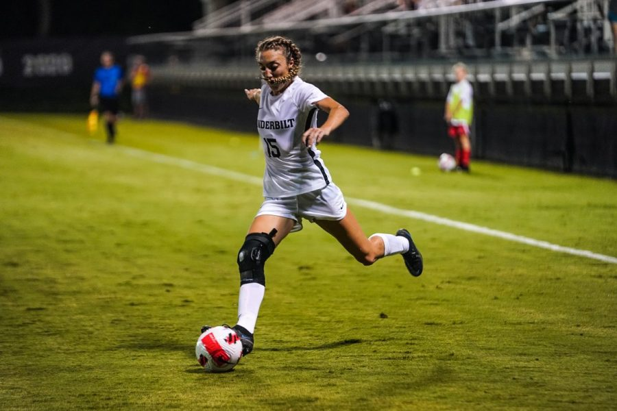 Abi Brighton scored an overtime goal to send the Commodores home with a 1-0 win in their season opener. (Vanderbilt Athletics).