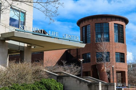 picture of the student life center from the side during the day