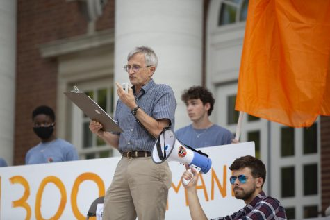 Dr. Curtis Baysinger speaking at the protest