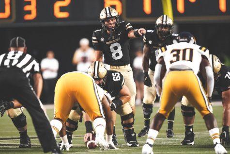 Ken Seals calls a play in Vanderbilts early season loss to ETSU. (Vanderbilt Athletics).