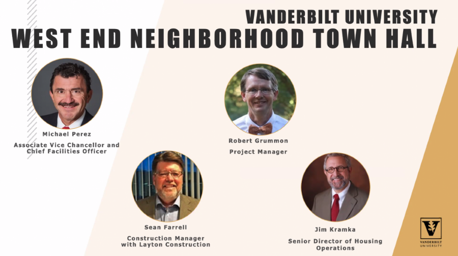 Screenshot of the West End Neighborhood Town Hall speakers, taken on Sept. 7, 2021. (Hustler Staff/Sally Johnson)