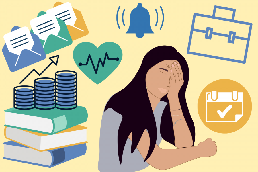 Graphic of student during an unpaid internship