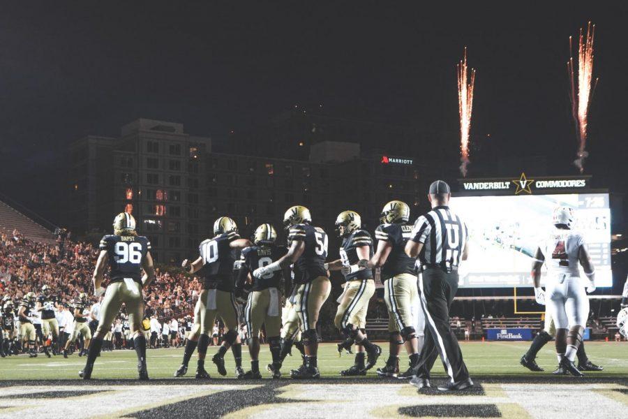 Vanderbilt football celebrates a touchdown against Stanford. (Vanderbilt Athletics).