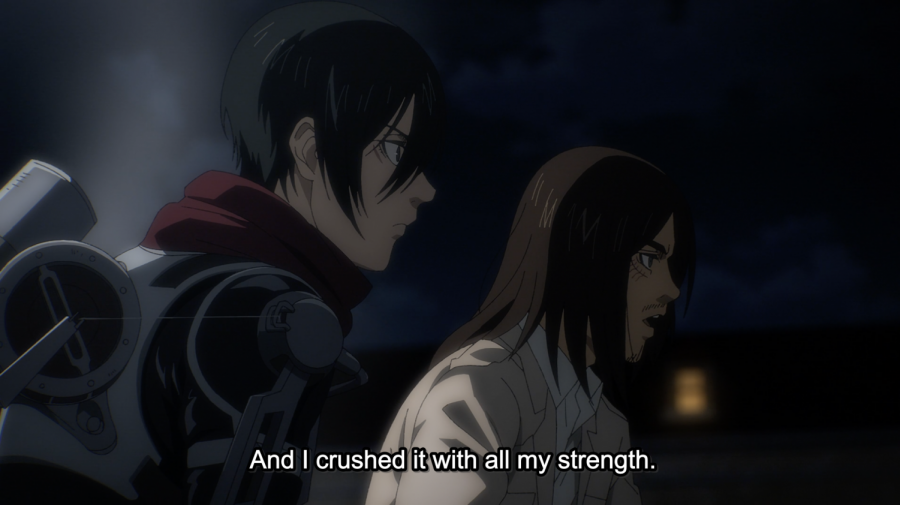 In addition to dashing new haircuts, season four gives us new, unpredicted dynamics between Eren and his friends. Screenshot by Stanley Zhao (MAPPA/Attack on Titan)