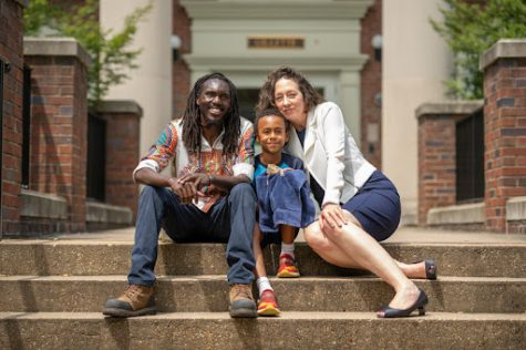 carol ziegler and her family on the steps of west house