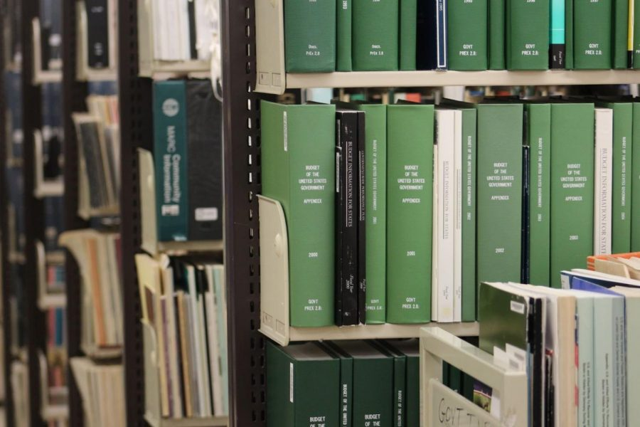 Image showing a stack of green books of the budget of the United States