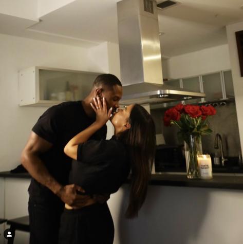 Newly-engaged Maurissa Gunn and Riley Christian share a kiss
