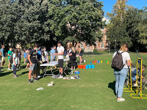 Vanderbilt students engage in games and activities at the Commodore Carnival on Alumni Lawn
