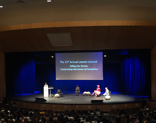 Dean Melissa Gresalfi introduces the theme for Vanderbilt's 15th annual Lawson Lecture and panelists Major Jackson, Krista Knight and Stephen Ornes